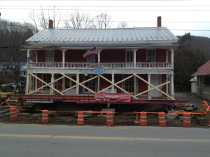 steel-beam-supports-porch-while-foundation-poured